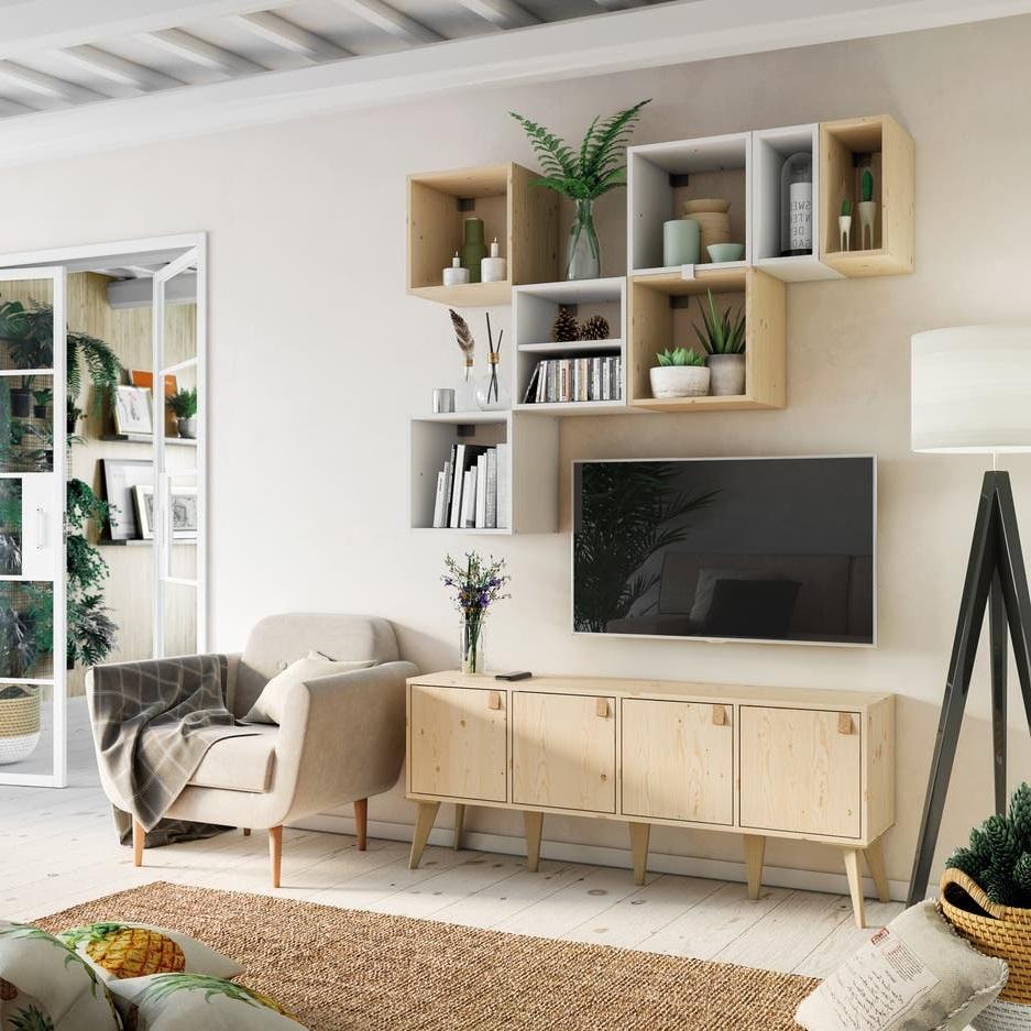 Un Meuble Tv Realise Sur Mesure Avec Des Elements Modulables