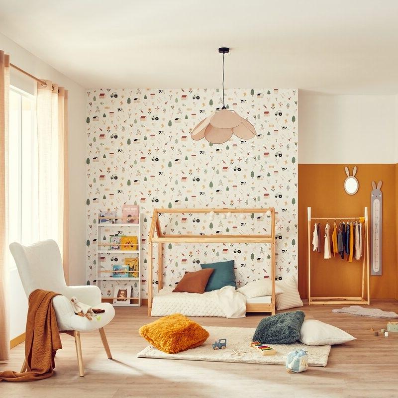 Un Papier Peint Ecru Motif Orange Cuit Simple Life
